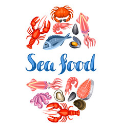 background with various seafood of vector image