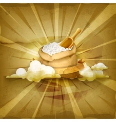 Bag of rice old style background vector image