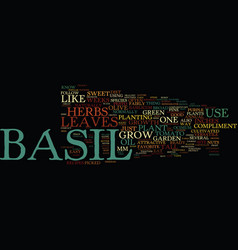 Basil text background word cloud concept vector