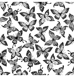 Black and white butterflies seamless pattern vector image