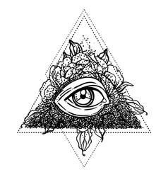 blackwork tattoo flash all seeing eye pyramid vector image