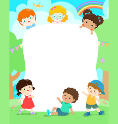 blank playground template happy kids poster design vector image