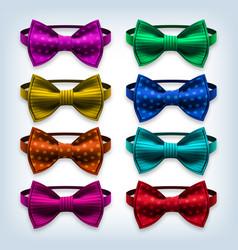 bow tie set hipster gentleman realistic vector image