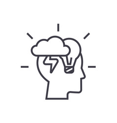 brainstorm head linear icon sign symbol vector image
