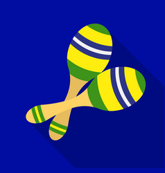 Brazilian maracas icon in flate style isolated on vector