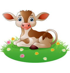 cartoon cow sitting on grass vector image