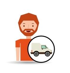 Cartoon man delivery truck icon graphic vector