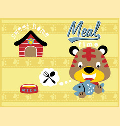 cartoon of little cat meal time vector image