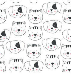 childish seamless pattern with doodle dogs cats vector image