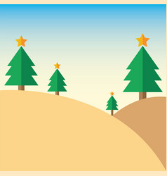 christmas tree on mountain vector image