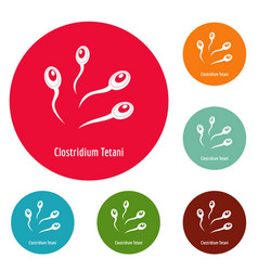 clostridium tetani icons circle set vector image