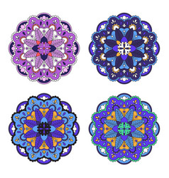 colorful mandala set vector image