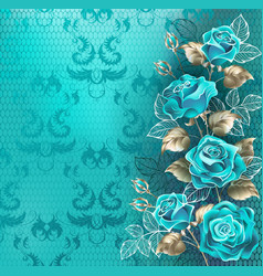 composition with turquoise roses vector image