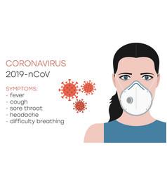 coronavirus symptoms 2019-ncov woman in mask vector image