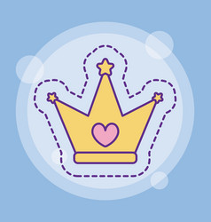 Crown with heart design vector