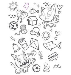 cute cat doodle cartoon vector image