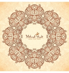 Decorative round frame in Indian mehndi style vector