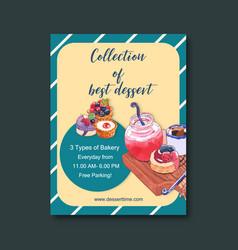 Dessert poster design with cake cheesecake tart vector