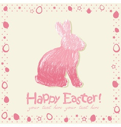 Easter cute scribble bunny silhouette hand drawn vector image