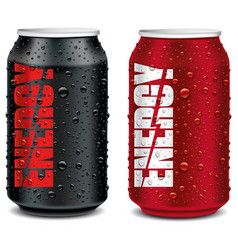Energy drink tin can red and black with many water vector
