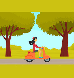 Female character riding scooter on road in city vector