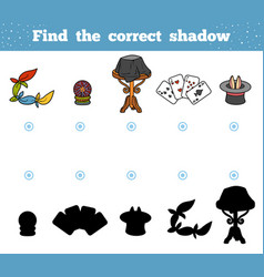 find correct shadow a set accessories vector image