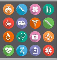 Flat colored healthcare themed icons vector