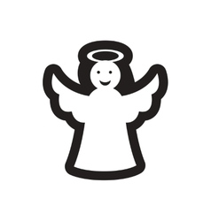 Flat icon in black and white christmas angel vector