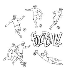 football player and goalkeeper sketch soccers vector image