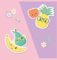 fresh and tropical fruits kawaii characters vector image