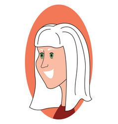 girl with white hair on white background vector image