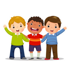Group of three happy boys standing together vector