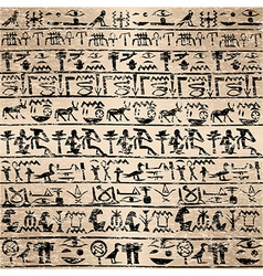 Grunge background with Egyptian hieroglyphs vector image