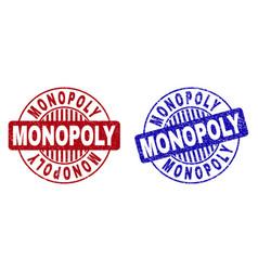 Grunge monopoly textured round stamp seals vector