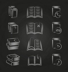 hand drawn books icons on chalkboard design vector image
