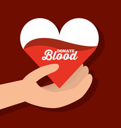 hand holding paper heart donate blood vector image
