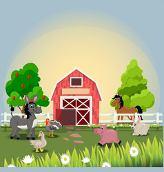 Happy and cheerful farm animals vector