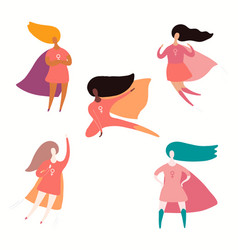 Happy superhero women set vector