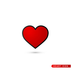 Heart flat icon love symbol isolated on white vector