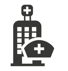 hospital building with medical icon vector image