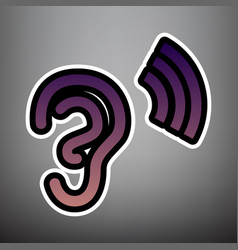 Human anatomy ear sign with soundwave vector