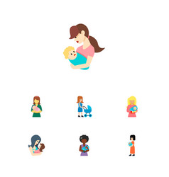 Icon flat mam set of woman parent kid and other vector