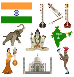 Indian symbols flat icon set vector