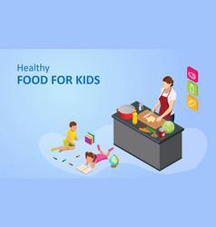 Isometric cooking school blog healthy food vector