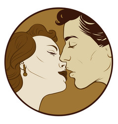 Kissing couple in sepia color vector