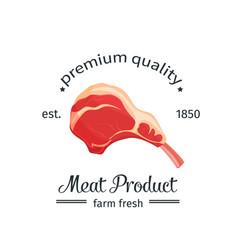 lamb chop vintage emblem vector image