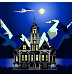 Landscape sea at night the idyllic and fabulous vector image