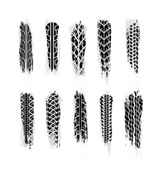 Largest set of realistic grunge wheel tires traces vector