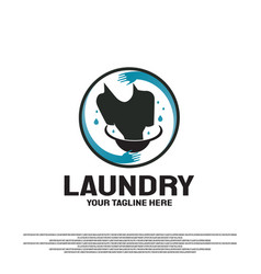 Laundry logo design with wash clothes concept vector