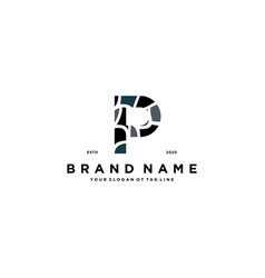 Letter p and stone logo design vector